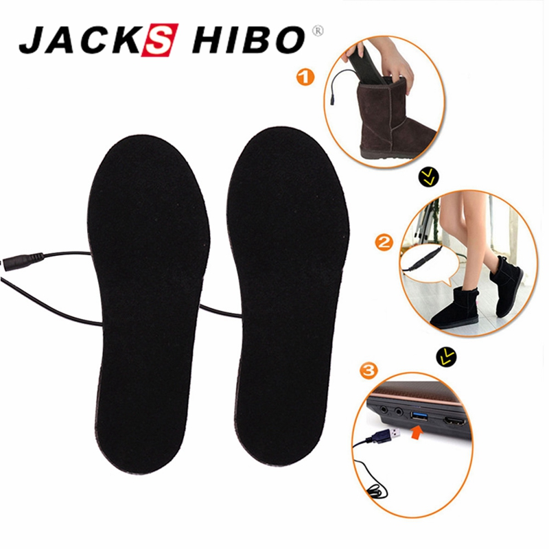 JACKSHIBO Heated Insoles Winter Men Women Heated Shoe Inserts Electric Powered Insoles for Shoes Boot Keep Warm Shoe Pad