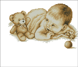 """Baby And Bear""14ct Counted Cross Stitch Baby Cartoon Lovely Needlework Embroidery Kits Paintings Diy Handcraft Room Decoration"