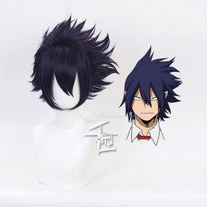 My Hero Academia Boku no Hiro Akademia Amajiki Tamaki Dark Blue Short Cosplay Wig Synthetic Hair Perucas + Wig Cap(China)
