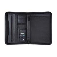 Multifunctional Professional Business Zippered Padfolio Folder Document Case Organizer Leather A4 PU Portfolio Memo Note Pad