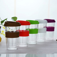 400ml transparent coffee cup with silicone cover thick double glass  travel mug With Lid Modern