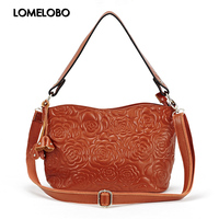 Lomelobo Fashion handbag Women Genuine First layer Cowskin Leather ladies Messenger Bags casual bucket with Rose flower HBL2166