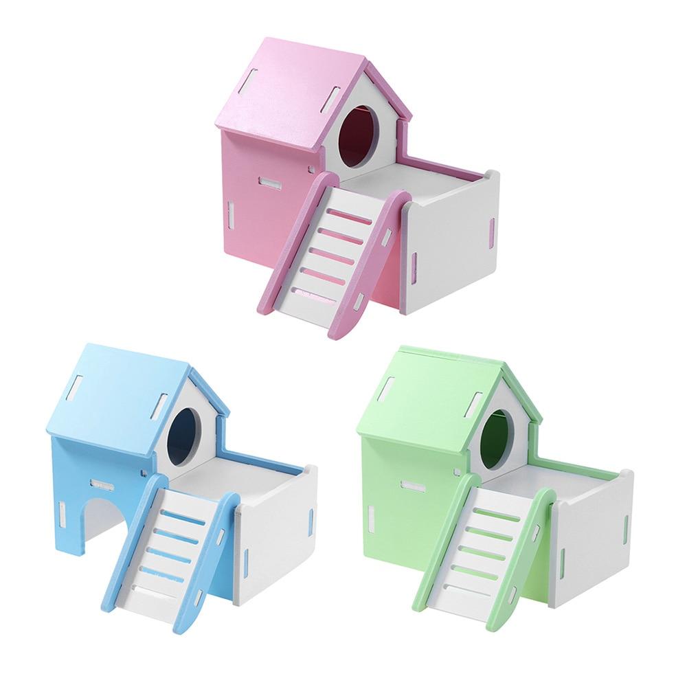 Cute Mini Small Animal font b Pet b font Hamster House Nest Loft Bed Rabbit Hedgehog