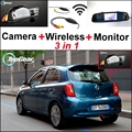 3 in1 Special Camera + Wireless Receiver + Mirror Monitor Easy DIY Back Up Parking System For Nissan Micra March