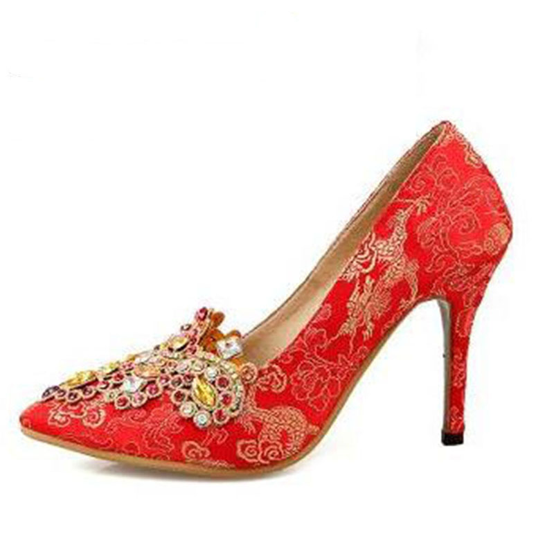 2017 spring rhinestone wedding shoes red high-heeled shoes thin heels bridal shoes pointed toe women's shoes flower chinese women pumps shoes pointed toe thin heels crystal shoes wedding shoes bridal shoes rhinestone handmade female high heeled