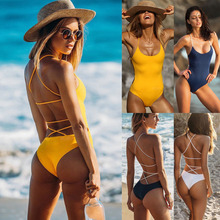 Sexy One Piece Swimsuit Women 2019 Summer Beachwear Solid Color Shoulder Swimwear Bathing Suits Bodysuit Monokini