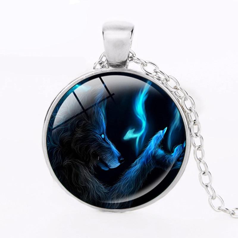 ZBOZWEI Dark Werewolf art Glass Round Dome statement necklace Werewolf pendants jewelry boys handmade jewelry kids gift