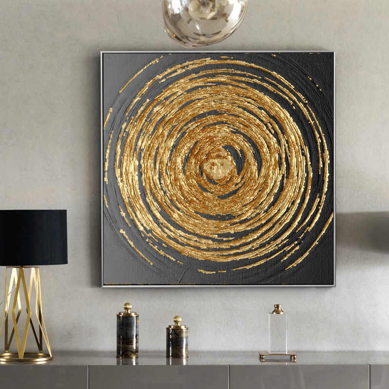 Modern Art American Style Abstract Gold Foil Artwork Painting Canvas Poster Pictures Printed for Living Room Home Decor No Frame