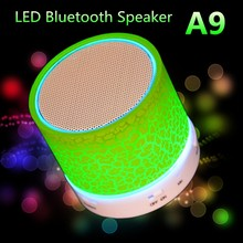 2016 LED Portable Mini A9 Bluetooth Speakers Wireless Smart Hands Free Speaker Box Subwoofer with Mic caixa de som support TF
