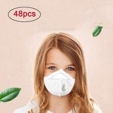 48 шт. М-образные удобные белые маски для лица N95 Твердые респираторные маски с клапаном дети PM2.5 Пылезащитная маска 13,99