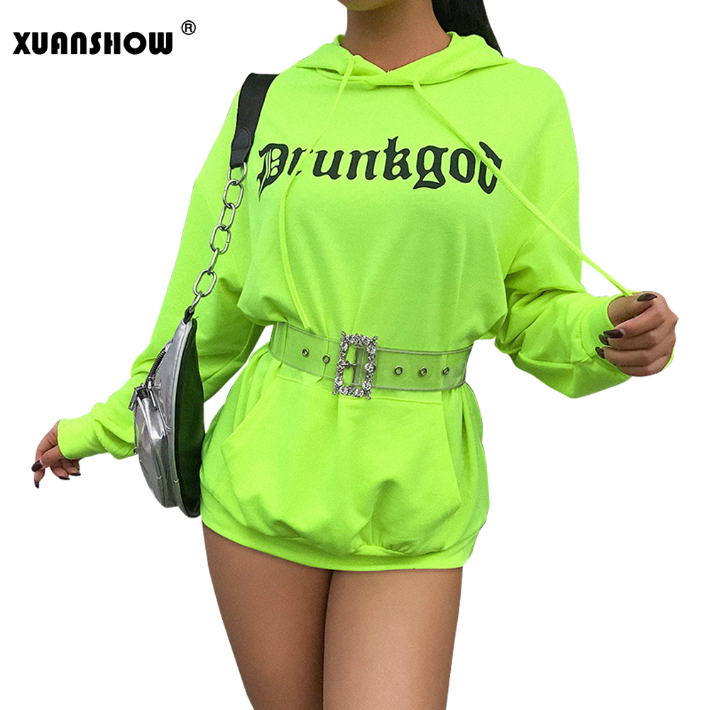 Xuanshow Bluzy Damskie 2019 New Female Cotton Letter Hooded Sweatshirts Neon Long Streetwear Womens Hoodies Dress With Pockets Women's Clothing