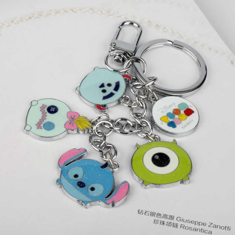 קריקטורה אנימה חמוד Keychain לילו וסטיץ 'דמויות תליוני מפתח שרשרת Keyring מתכת אמייל Chaveiro רכב מחזיקי מפתחות ילדים מתנה