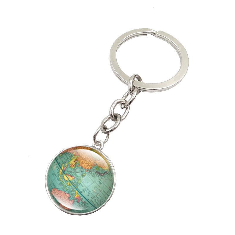 Popular world map keychain buy cheap world map keychain lots from vintage globe map keychain world map art glass round dome pendant key chain fashion jewelry silver sciox Images