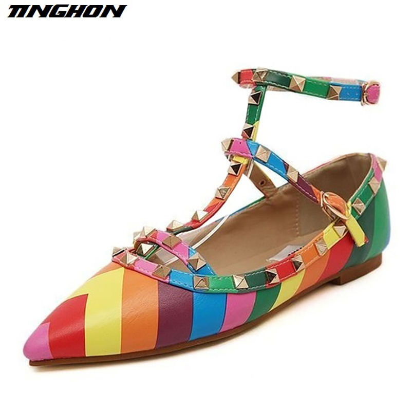 New 2018 Women's shoes Buckle Sandals Metal Rivet Studded Flats ankle straps pointed toes women flat shoes rock rainbow shoes 2016 the new leisure women pointed toes loafers leopard black gray female rivet flat shoes for women s shoes a24
