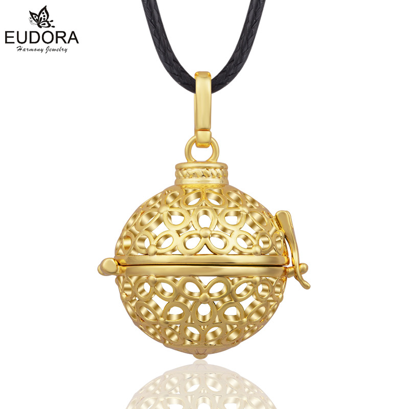 Eudora Jewelry Harmony Bola 20MM Gold-Color Euodra Angel Caller Locket Cage Pendant Pregnancy Gifts For Women Baby K154G20