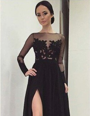 Winter Formal Elegant Long Sleeve Applique Lace Split Sexy Guest