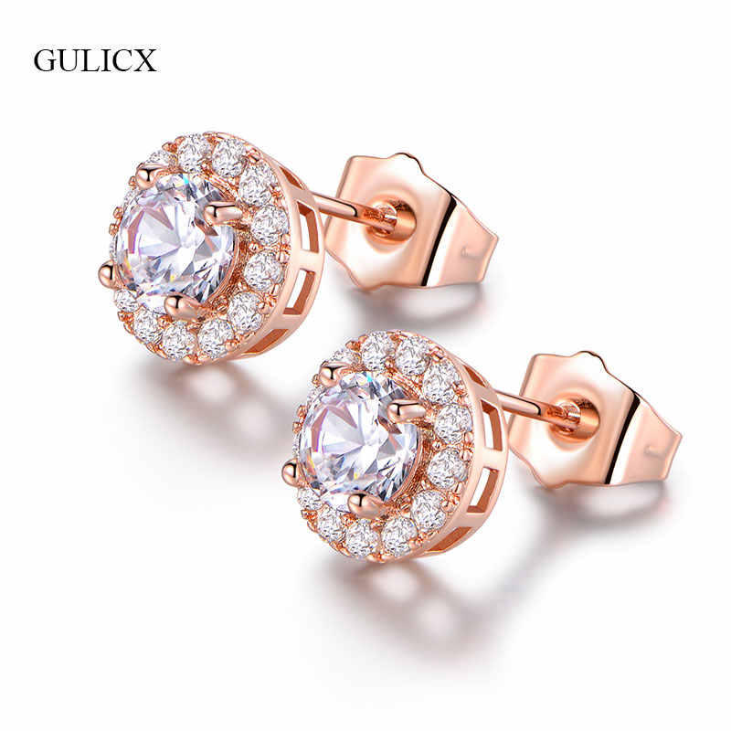 acde462ea8503 GULICX Fashion Women Stud Earrings Red/White Stone CZ Cubic Zirconia  Earrings Silver Rose Gold-Color Wedding Bijoux Jewelry E308