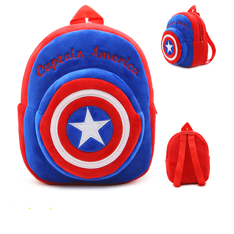 Hot Plush Backpack Cartoon The Avengers Plush Toy Backpack Superman Spiderman Batman Captain America Boy Bag For Kids Schoolbag