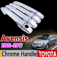 for Toyota Avensis 2009-2017 Chrome Handle Cover Trim Set 2010 2011 2012 2013 2014 2015 2016 Car Accessories Sticker Car Styling for toyota 4runner 2010 2017 chrome handle cover trim set for 4 runner 2011 2012 2013 2014 2015 2016 accessories car styling
