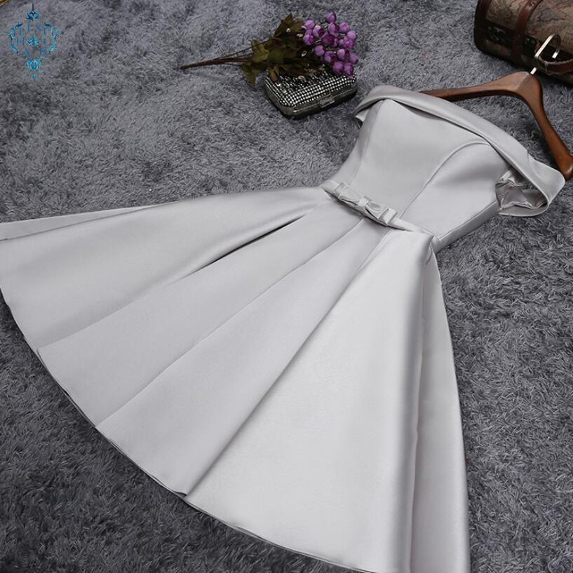 Ameision 2019 Short reflective dress Evening Dress Boat Neck Party Ball Gown vestito da sera prom dresses