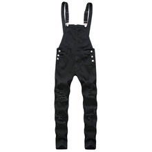 New Fashion Hip Hop Ripped Jeans Jumpsuits Hi Street Distressed Hole Denim Bib Overalls Casual Jeans Plus Size