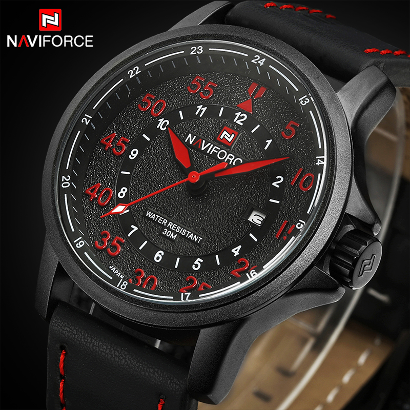 NAVIFORCE Mens Watches Top Brand Luxury Men's Quartz Date Clock Man Sport Military Wrist Watch Men Leather relogio masculino orkina 2016 mens watches top brand luxury rose gold wrist watch men dress quartz auto date man business clock relogio masculino