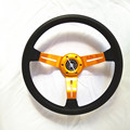 Universal 14-inch PU leather Steering Wheel golden /blue  2016 New hot