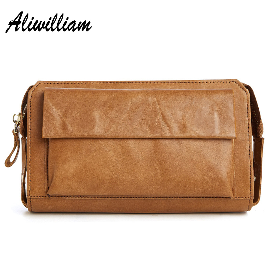 100% Aliwilliam Genuine Leather Purse Men Wallets Credit Business Card Holders Zipper Long Wallet Black/Brown Male Clutch Bags 2016 famous brand new men business brown black clutch wallets bags male real leather high capacity long wallet purses handy bags