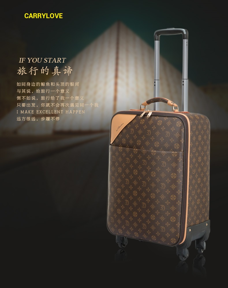 CARRYLOVE classic luggage series 16/20/22/24 inch High quality noble PVC Rolling Luggage Spinner brand Travel Suitcase цена