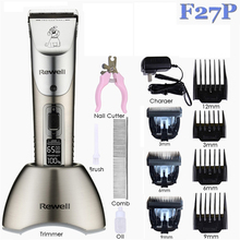 Professional Pet Hair Trimmer Rechargeable Cat Dog Grooming Clipper Electric Shaver Haircut Machine Power/Speed Show+3pcs Blades