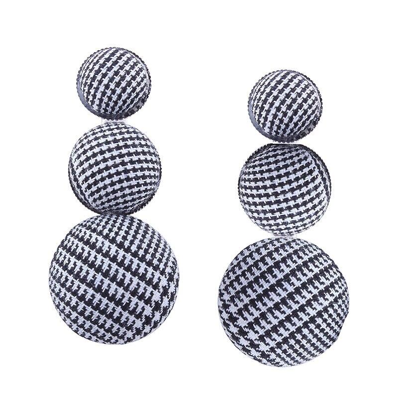 Vintage Black White Lattice Button Drop Earrings Jewelry Fashion Simple Wine Rred Flannel Dangle Long Eearrings For Women Gift