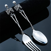 New 316 Stainless Steel Skeletons Cutlery Skeleton Fork and Spoon Skull Metal Flatware Set