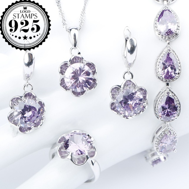 Purple Zircon Silver 925 Costume Wedding Jewelry Sets Earrings