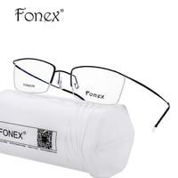 FONEX Aucun Vis Soudure Titane Lunettes Cadre Hommes Lunettes de Prescription Femmes Demi Optique Cadre Haute Qualité Lunettes Silhouett
