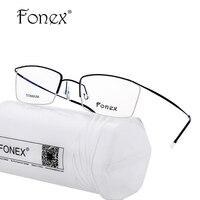 FONEX 2017 Men Optical Frames Eyeglasses Frames Glasses Fashion Half Eyeglasses Frame Myopia Titanium Computer Frame