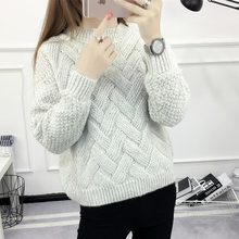 Korean pullover feminine coat 2018 autumn o-neck solid color knitted sweater women long sleeve slim pull femme winter sweater