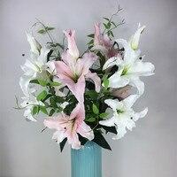 WholesHigh Kalite Süper Gerçek Dokunmatik PU Köpük Pembe Zambak Ev Çiçek Yapay Zambak Düğün Çiçek Parti Ücretsiz Kargo