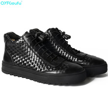 Men Genuine Leather Boots Fashion Casual Retro Shoes Autumn Winter Weaving Ankle Lace Up Black