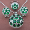 Huge Design Green Stone  Zirconia Women's  925 Sterlig Silver Jewelry Sets Necklace Pendant Earrings Rings Free Shipping TZ027
