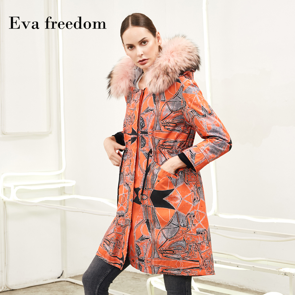 Winter manufacturers fashion printed warm down Parka jacket with down Liner female big nature fur collar denim down coats wq2469