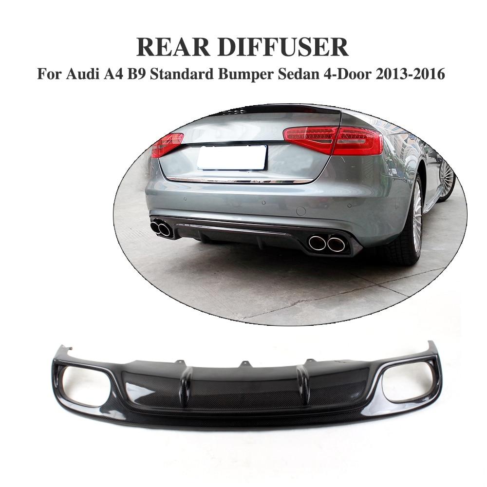 Carbon fiber rear bumper lip diffuser for audi a4 b9 standard bumper 2013 2016 non