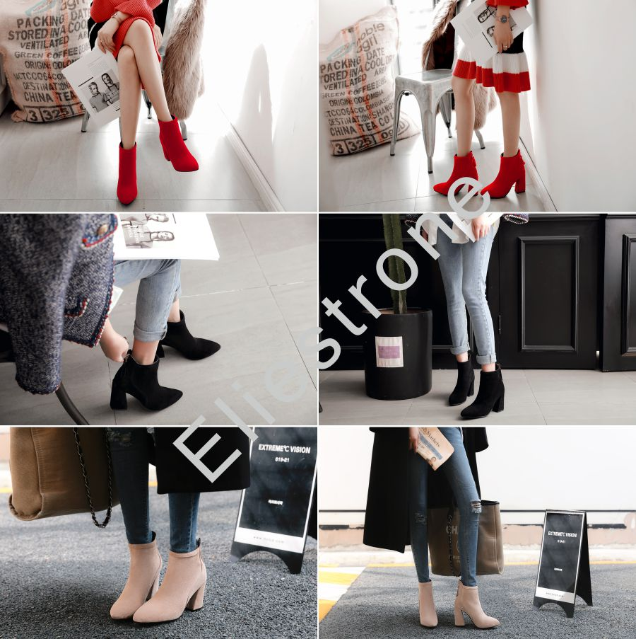 0285cc5028f Brand New Hot Winter Beige Red Women Ankle Nude Boots Fashion Dress ...