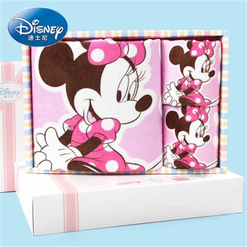 Disney 3pcs Pink Minnie Face Towel Bath Towels Gift