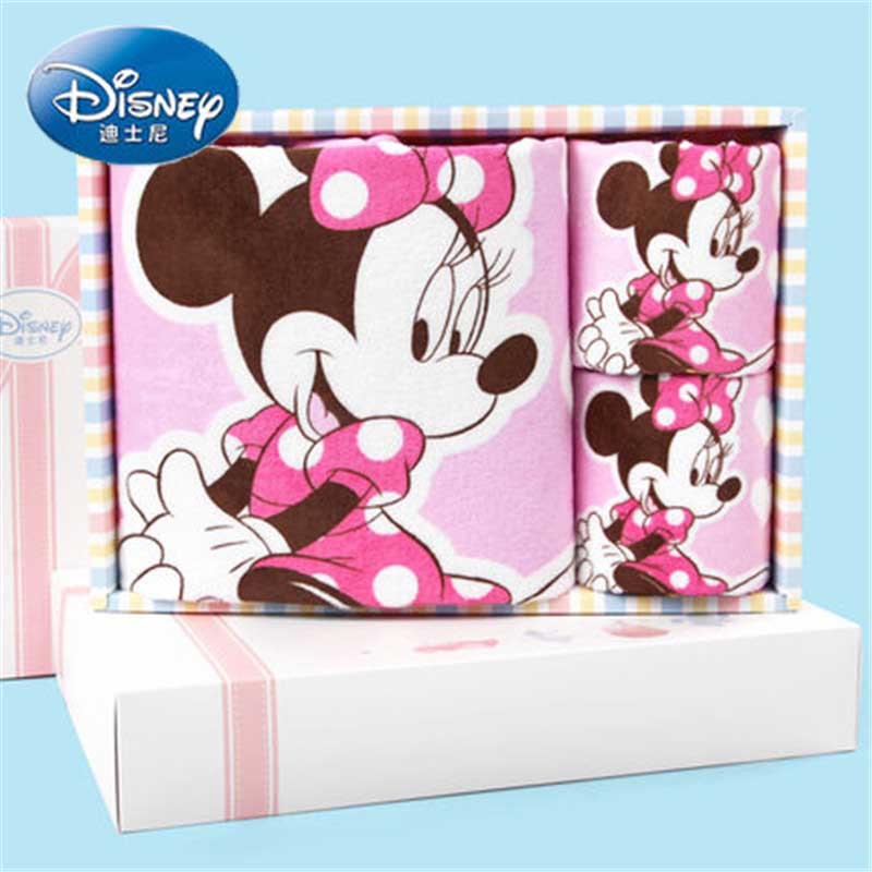 Disney 3pcs Pink Minnie Face Towel Bath Towels gift packaging Baby Wash Towels Spa Facial Bath Towel birthday gift