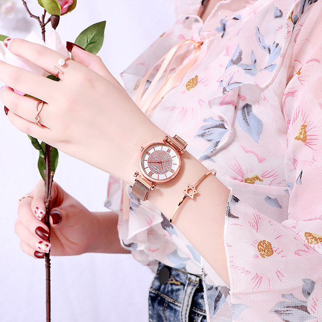 Women Magnetic Buckle Watch 2019 Luxury Brand Diamond Women Bracelet Wrist Watch For Ladies Wrist Watch Female Relogio Feminino 4