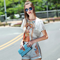 Мода Устанавливает 2016 Новый Летний Известный Новый Коротким Рукавом Характер Печати Топ + Элегантные Короткие Штаны High Street Дизайнер Twinset