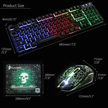 T6 Rainbow Backlight Usb Ergonomic Gaming Colorful Keyboard and Mouse Set for PC Laptop for Tablet Desktop Russian sticker Y2.21