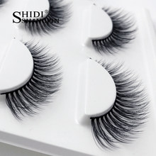 1 Doos Natuurlijke Lange 3D Mink Wimpers Handgemaakte Valse Wimpers Piekerige Nertsen Wimpers Volledige Strip Wimpers Extension Make Up 3 pairs(China)