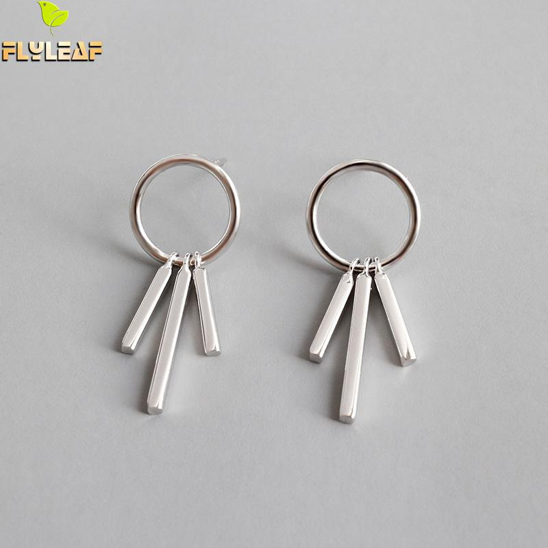 Flyleaf 925 Sterling Silver Earrings For Women Circle Square Tassel Femme Simple Dangle Drop Earings Fashion Jewelry Party in Earrings from Jewelry Accessories