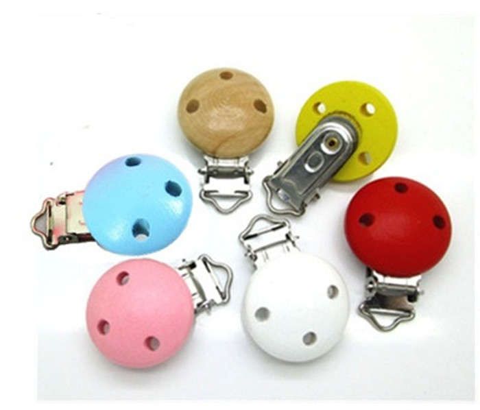 5PC Pacifier Clips Wooden Round mixed color For Baby 44x29mm XP0069